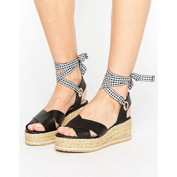 baa883d69b11 Miss Selfridge Gingham Strap Flatform Espadrille ( 58) ❤ liked on Polyvore  featuring shoes