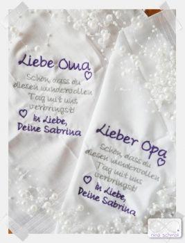 Besticktes Taschentuch Oma / Opa / Schwägerin