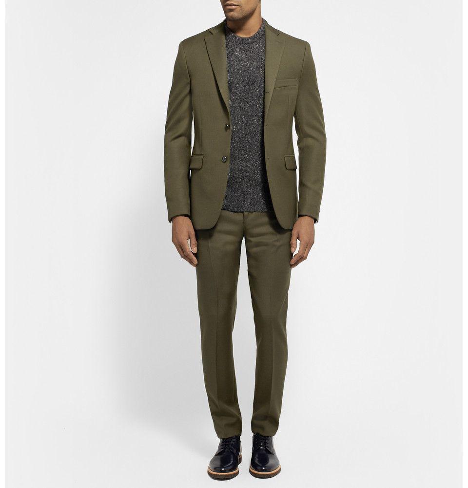 Acne Studios Dark Olive Drifter Slim Fit Wool Twill Suit