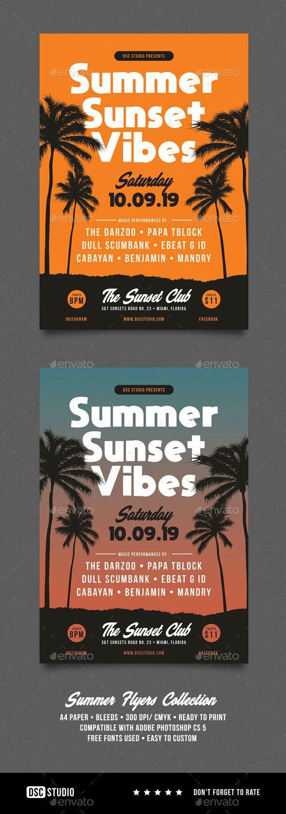 summer sunset vibes party flyer events flyers summer flyer