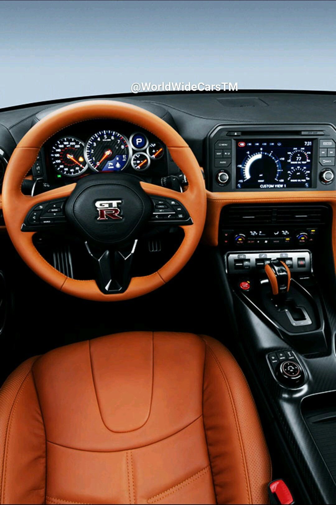 burnt orange nissan gtr interior
