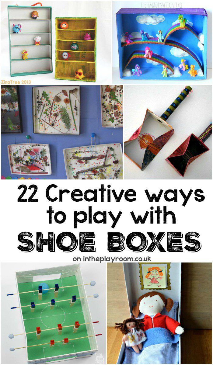 Creative Ideas To Make With Cardboard Shoe Boxes In The Playroom Shoe Box Crafts Shoe Box Upcycle Crafts Diy