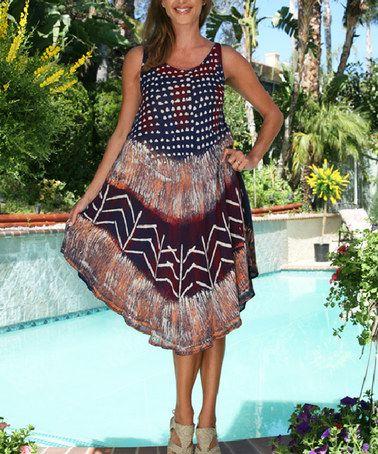 Another great find on #zulily! Navy & Magenta Geometric Handkerchief Dress - Women #zulilyfinds