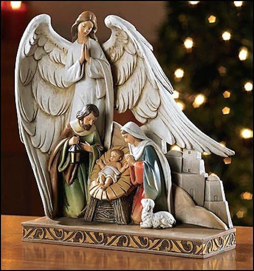 Holy Family Admires Jesus Nativity Religious Christmas: Christmas Nativity Scene With Angel Watching Over Baby