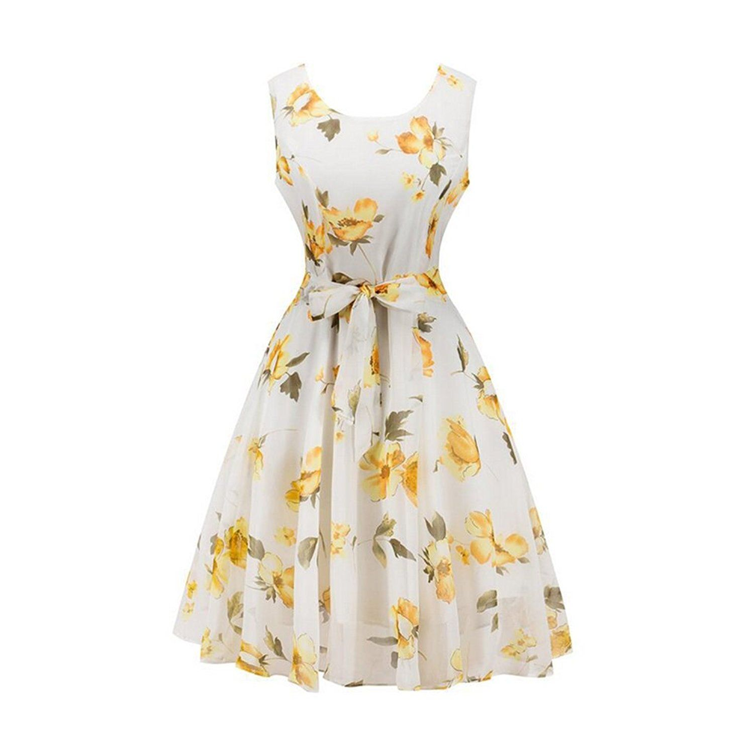 6a4101a048eb Kha Zix Women s Sleeveless Vintage Floral Flarel Audrey Style Cocktail  Retro Swing Party Midi Dress at Amazon Women s Clothing store