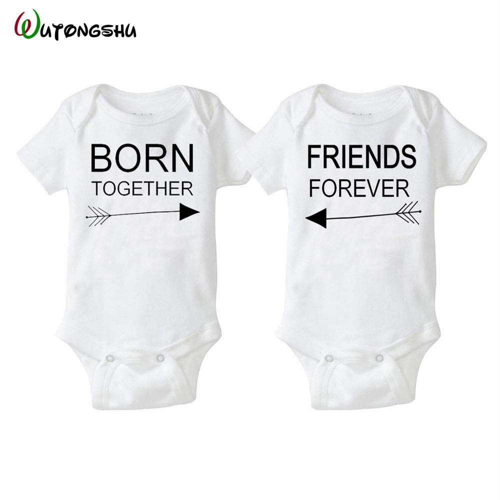 Born Together Friends Forever Triplets Baby Vests Bodysuits Baby Grows Girl