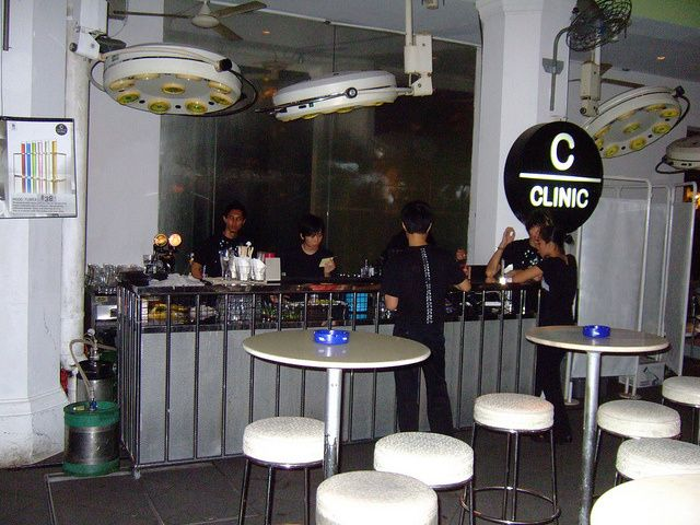 The hospital-themed Clinic Bar, Clarke Quay, Singapore, designed by the Dutch Concrete Architects