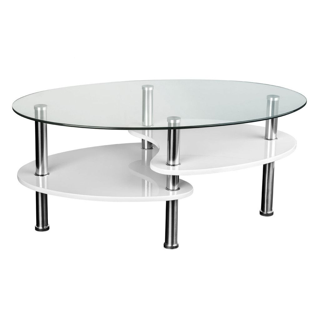 Coffee Table, MDF/White High Gloss Shelves, Clear Tempered Glass  Top/Stainless