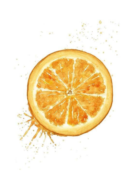 Orange Fruit Juicy Orange Watercolor Painting Orange Art Print