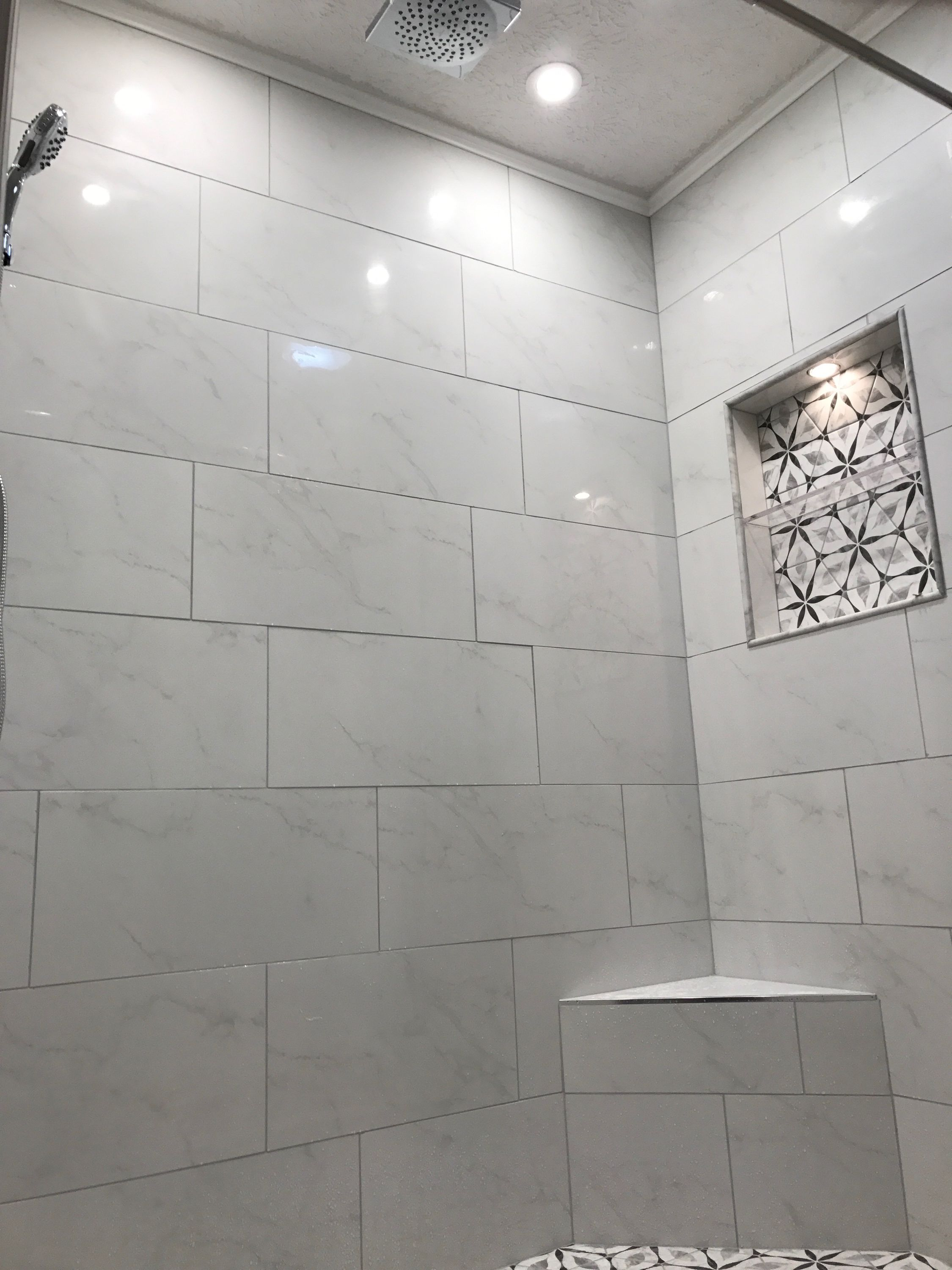 Carrara White Rectangle Tile Merona Tile From Home Depot In A Black And White Flower Pattern Home Depot Bathroom Bathroom Floor Tiles Stone Tile Bathroom