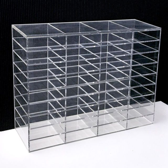 Details about 3Pcs Clear Acrylic Eyelash Organizer Storage Box Makeup Display Shelf Rack