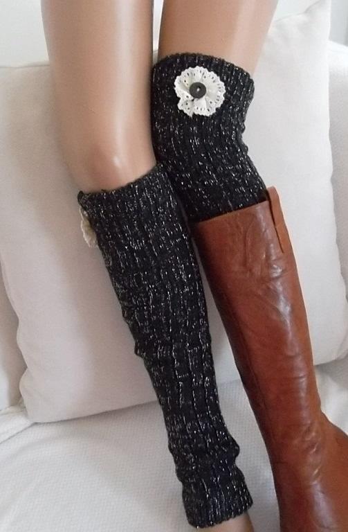 5b30485ca3e4d Dark Grey Leg Warmers Boot Socks Machine Knit Boot Cuffs Women's Socks  Winter Socks Christmas Gift