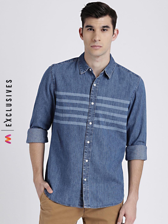 868675a03f GAP Men s Blue Denim Western Shirt in Laser Wash -