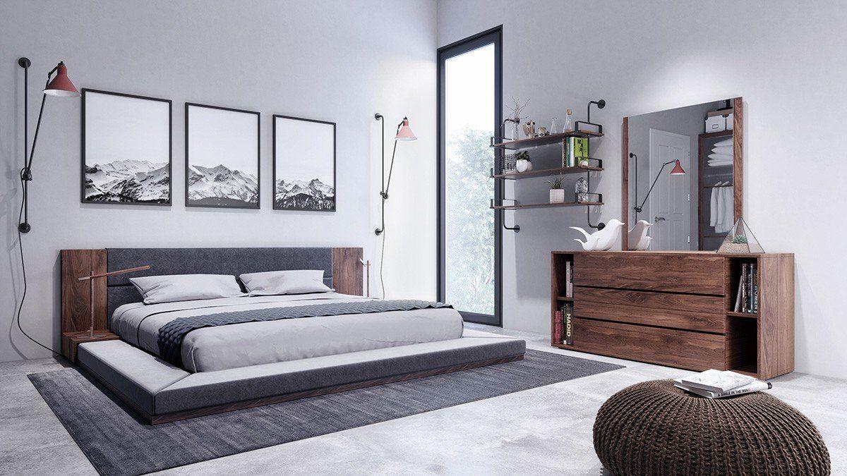 Defalco Platform 3 Piece Bedroom Set Walnut bedroom