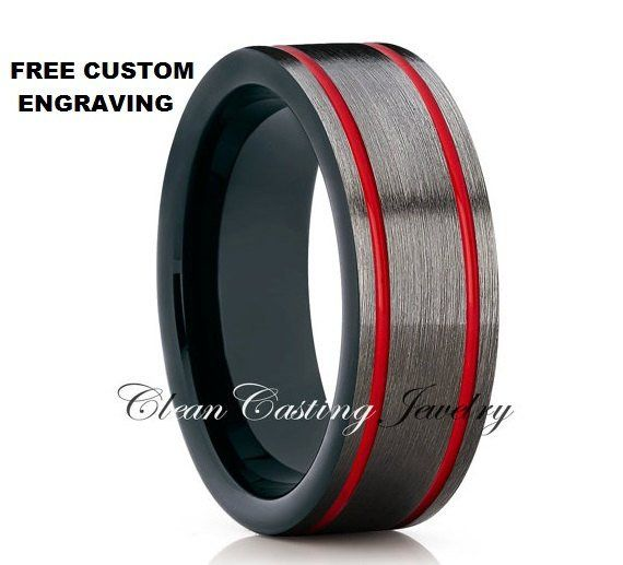 Gunmetal Red Tungsten Wedding Band,Red Tungsten Ring,Tungsten Carbide Ring,Tungsten Wedding Ring,Comfort Fit,8mm