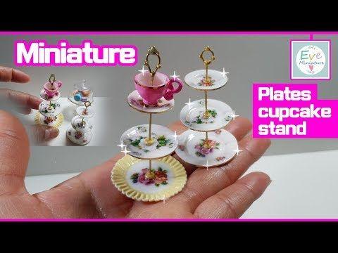 미니어쳐 접시 컵케이크 스탠드 만들기 Doll kichen miniature plates polymerclay 이브미니어쳐 pla... #dollhouseminiaturetutorials