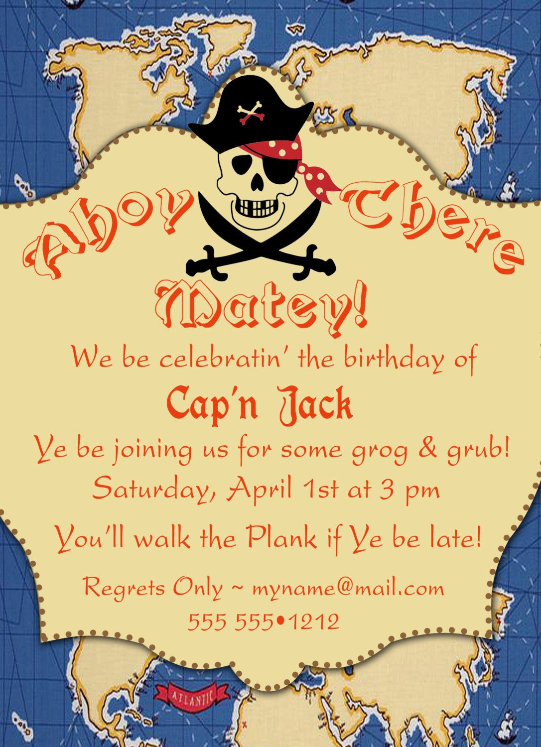 Birthday invitationbirthday card pirates x all bout