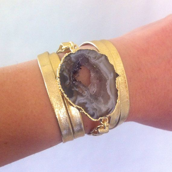 Metallic Gold Leather Wrap Bracelet with 14K gold by oiajules, $48.00