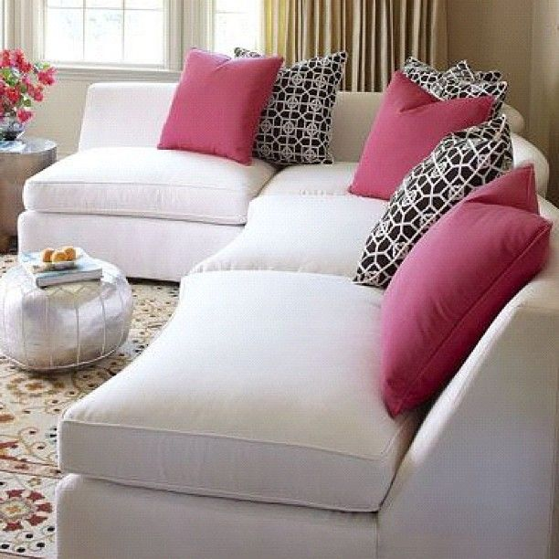The joy of sectionals: pick the pieces you need to create a seating arrangement that fits your room. We love 'Rovino' in white with pink and black/white pillows! #Horchow