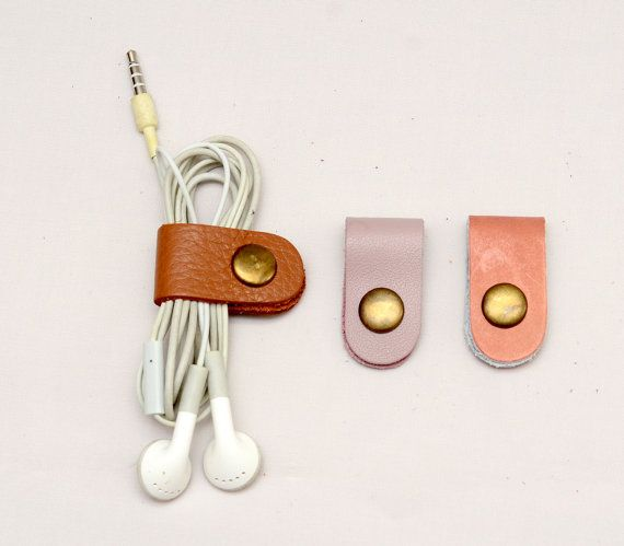 3 Mixed Color Ear phone cable organizer leather by tstudio38, $13.90  Need all phone accessories: headphones, charger, car adapter