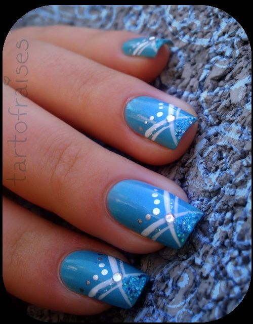 Pretty Blue And White Sparkly Y Nails Trendy Nail Polish Designs Cute