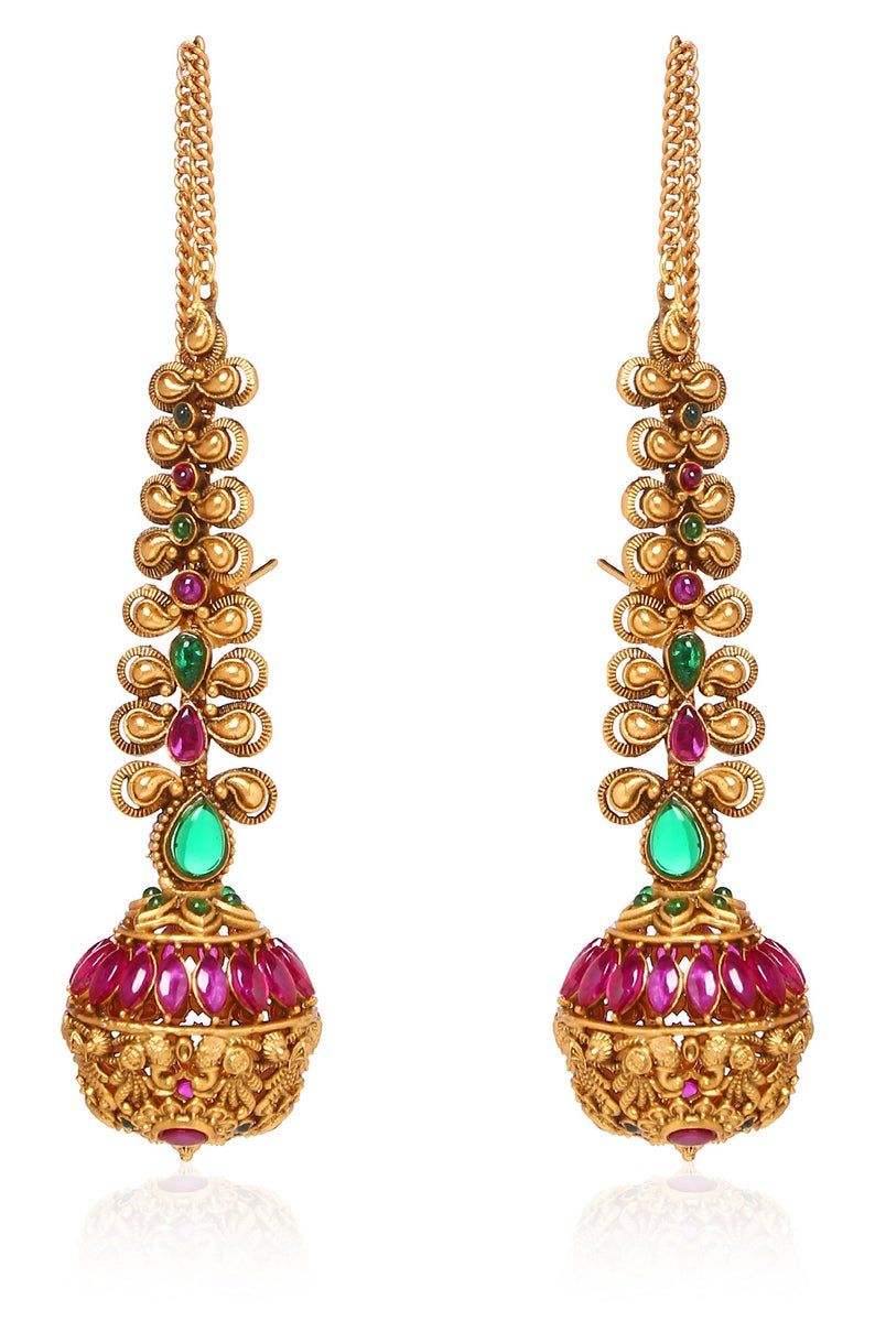 Green And Pink Gold Plated Temple Work South Indian Earrings