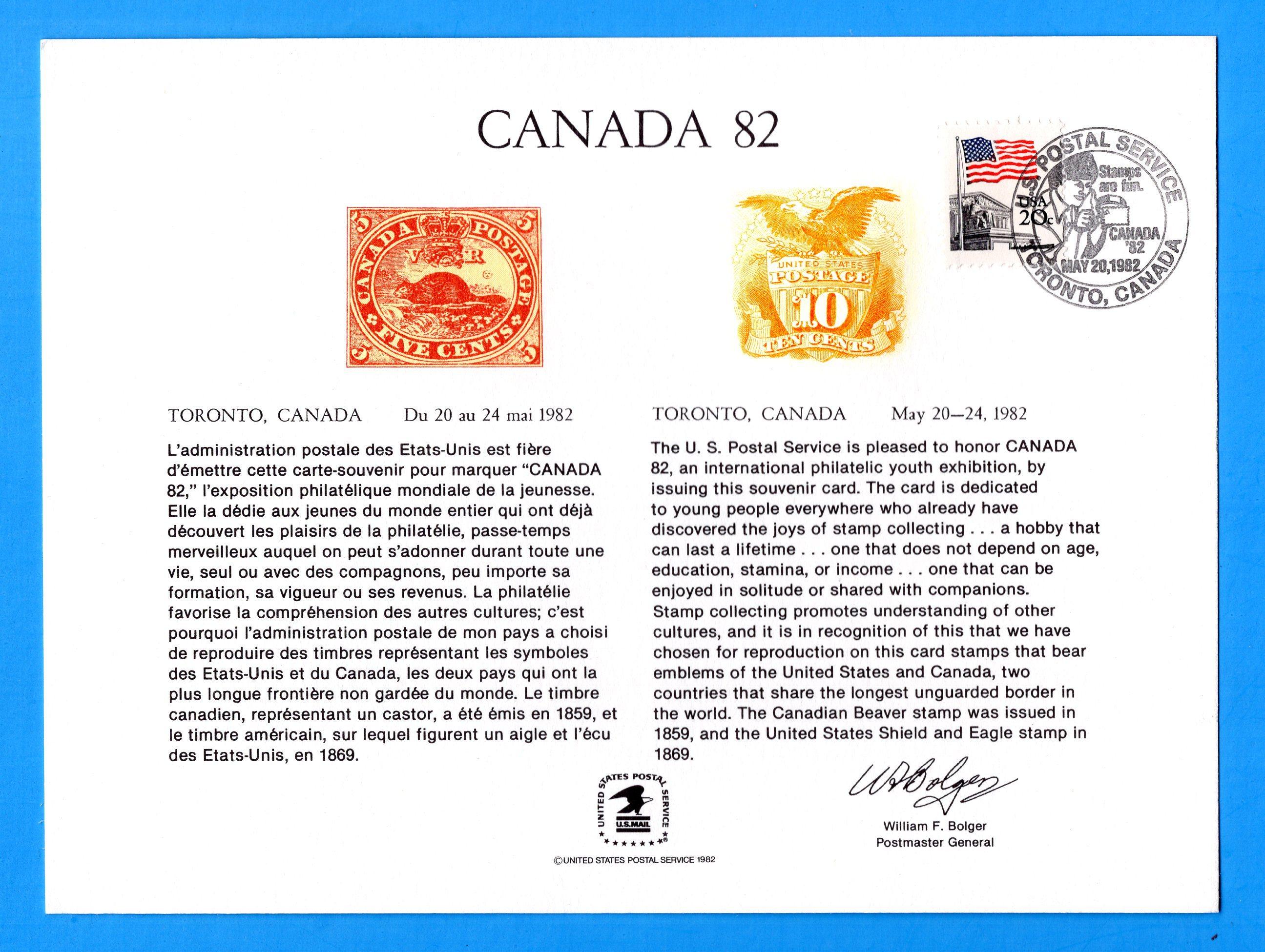 CANADA '82 - Franked Toronto, Canada May 20, 1982 Souvenir Cardvenir Card