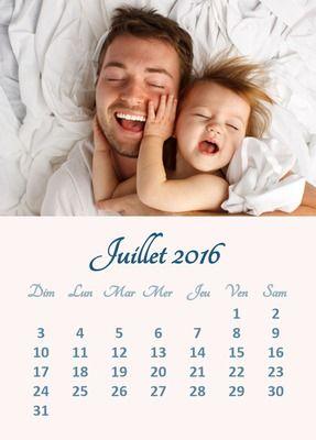 Montage photo Calendrier Juillet 2016 avec photo personnalisable