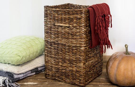 Tall Laundry Storage Wicker Basket Hallway Umbrella Woven Stand