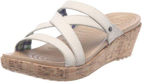 Crocs Womens A-Leigh Mini Leather Wedge