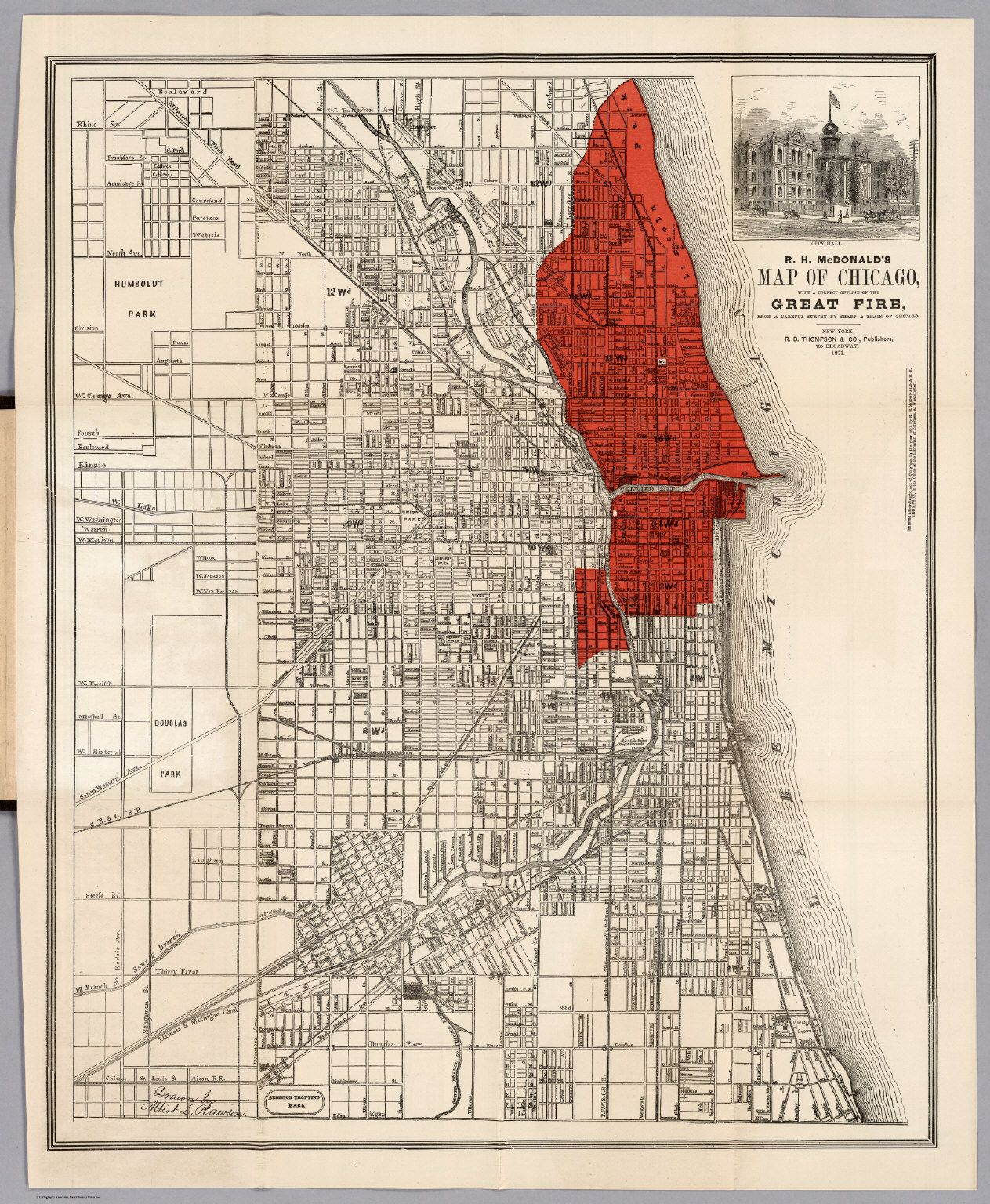 Map Of Chicago And The Great Chicago Fire R B Thompson And Co