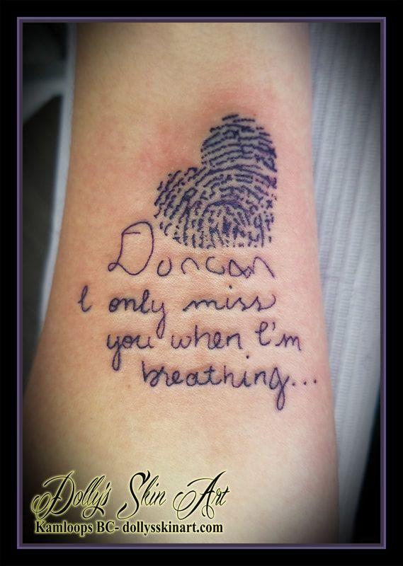 Duncan Will Always Be With Karen Handwriting Tattoos