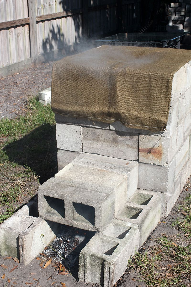 Concrete Block Smoker … | Outdoor smoker, Concrete blocks ... on homemade brick bbq pits, cement block smoker, homemade fire pit, cinder block grill and smoker, brick block smoker, cinder block pig smoker,
