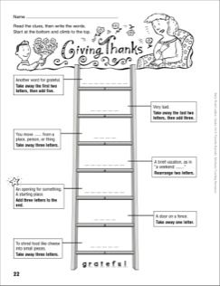 giving thanks word ladder grades 4 6 school pinterest word ladders word study and. Black Bedroom Furniture Sets. Home Design Ideas