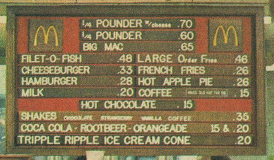 prix dun menu big mac en 1999
