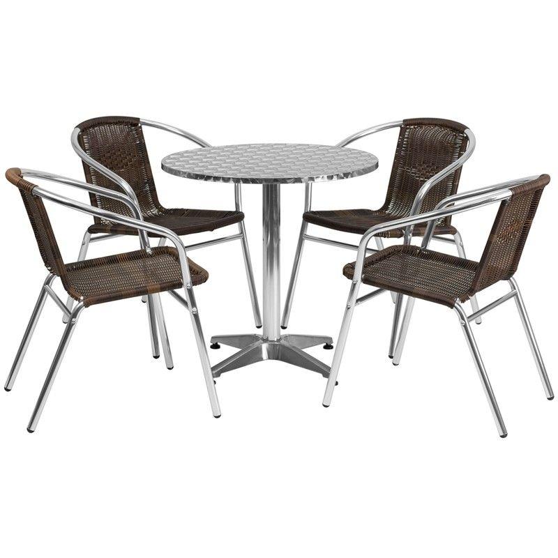 27.5\'\' Round Aluminum Indoor-Outdoor Table with 4 Dark Brown Rattan ...