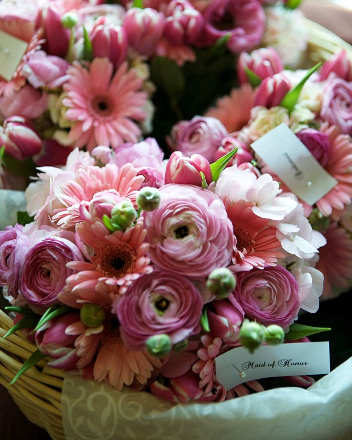 pink ranunculus gerbera daisy wedding bouquet  PPEvents Bouquets  Gerbera daisy wedding