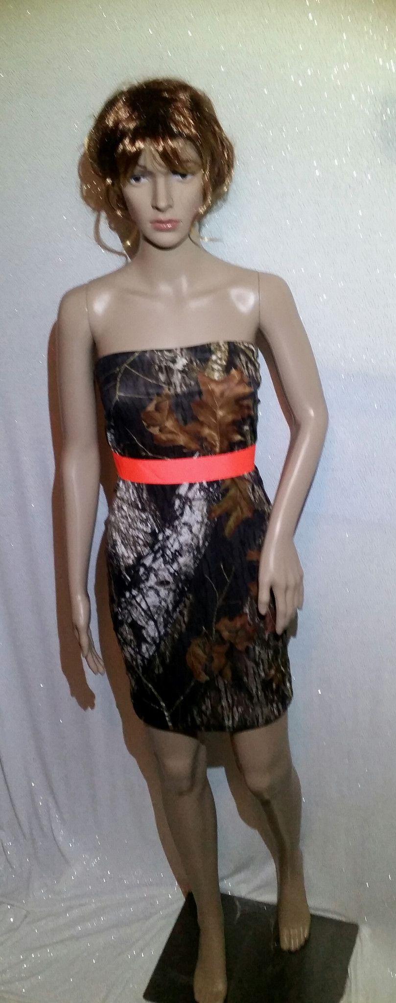 Camo and orange wedding dresses  Handmade Camouflage Strapless Dress with Hunter Orange Sash