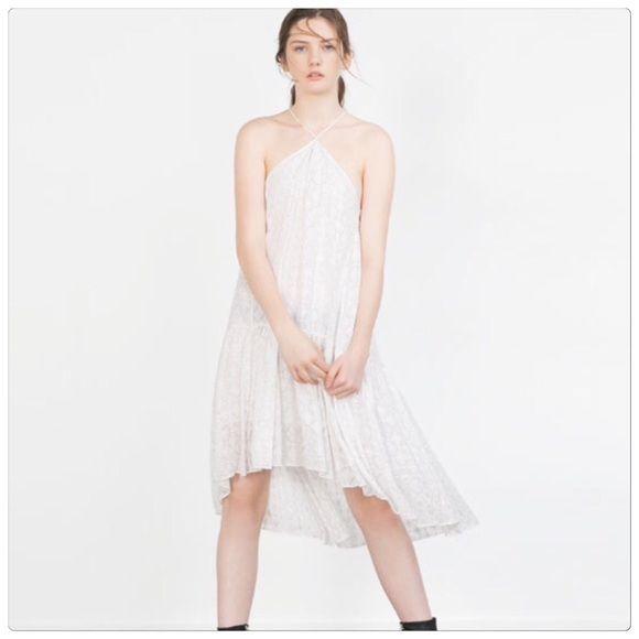 c41daae7 Zara lace halter dress Zara lace halter dress. Silver sparkles ...