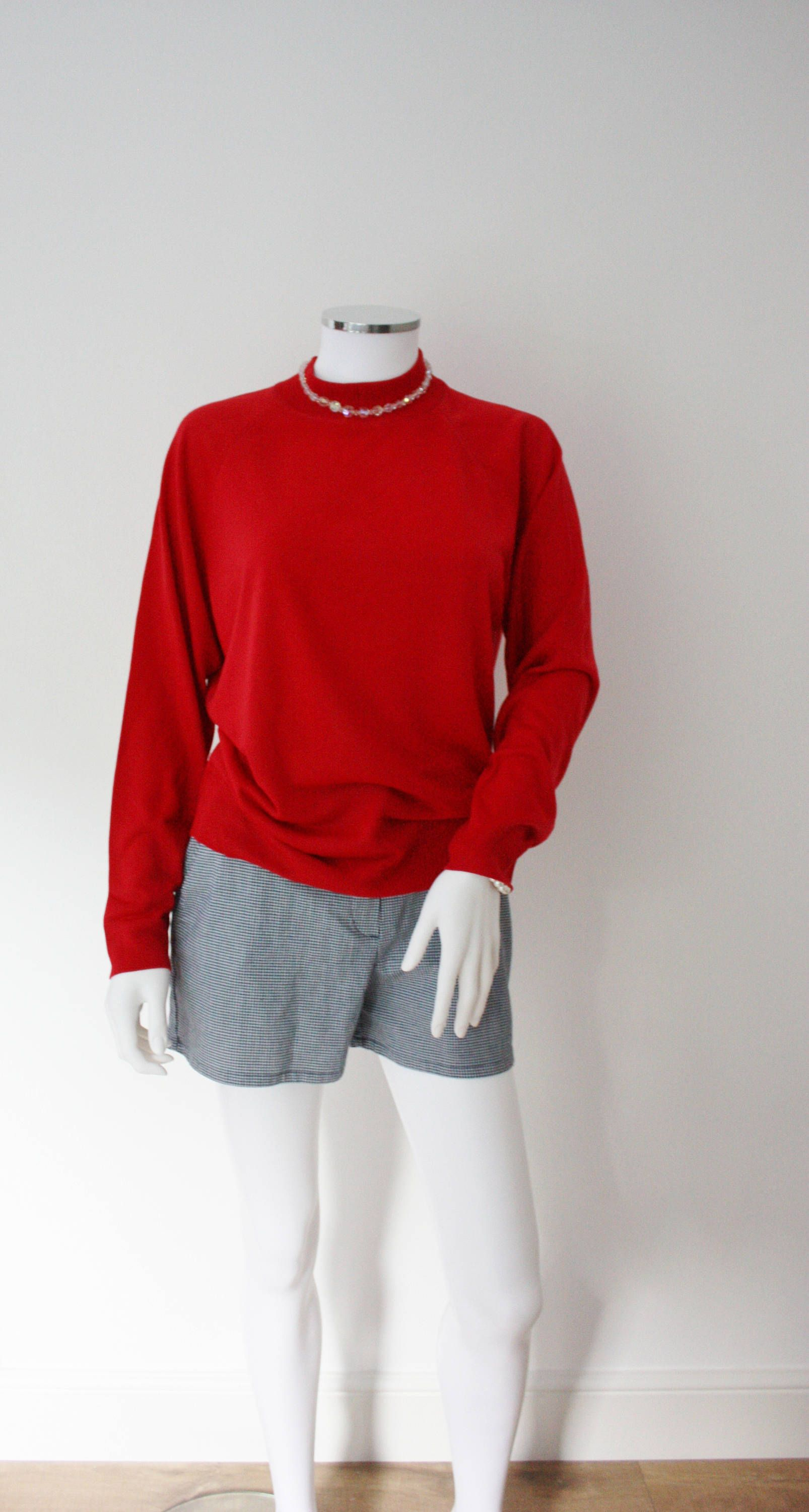 Red turtle neck sweater, bright red sweater, turtleneck jumper ...