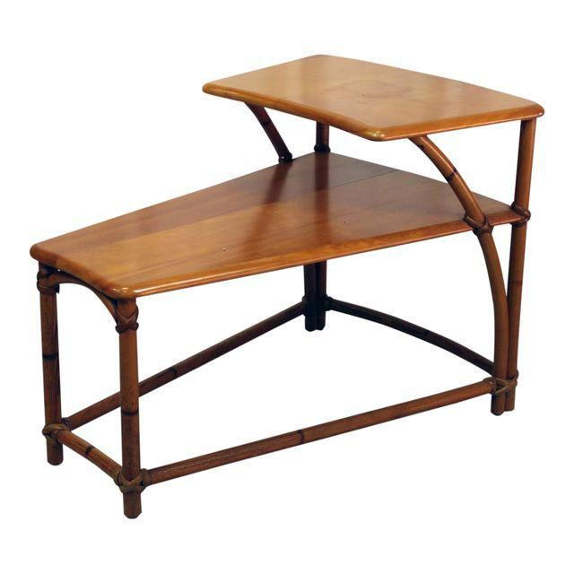 Heywood Wakefield Twotiered Wedge Shaped End Table Wedge End