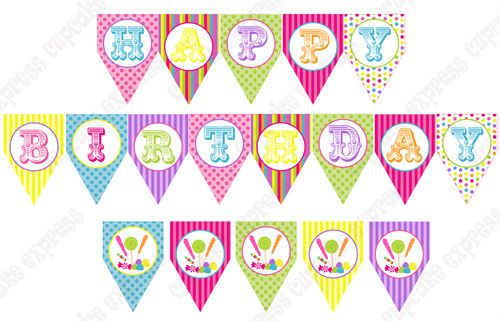 Candy Shoppe Printable Happy Birthday Banner  Birthday Belle