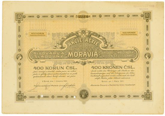 Moravia Brauerei U Malzfabriks Ag Akciova Spolecnost Moravia Pivovar A Sladovna Brno 1 March 1921 Share Of 40 Moravia Retro Vector Vintage World Maps