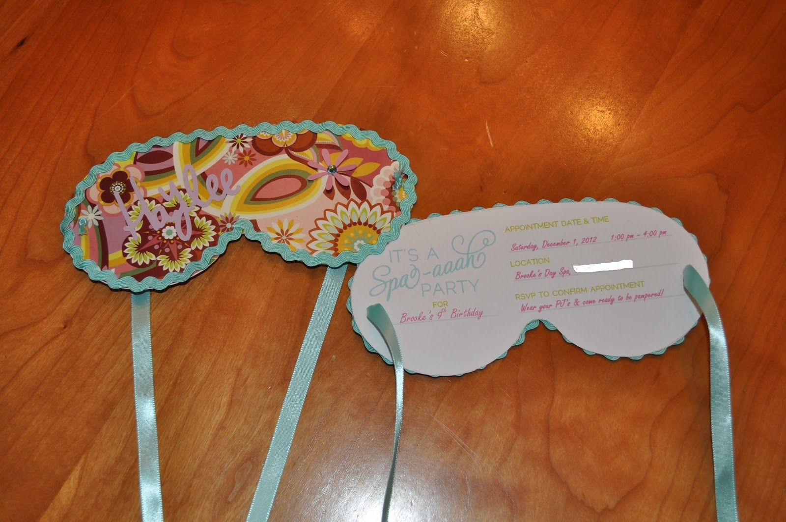 Sleep mask invitation template that looks like scrap for Spa mask invitation template