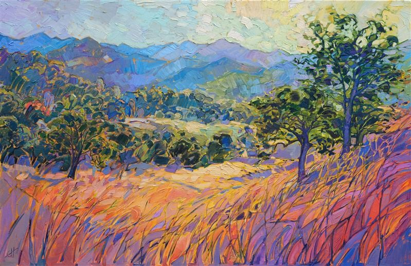 Paso Robles Colorful Landscape Oil Painting In A Contemporary Impressioninsm Style Oil Painting Nature Beautiful Art Paintings Oil Painting Abstract