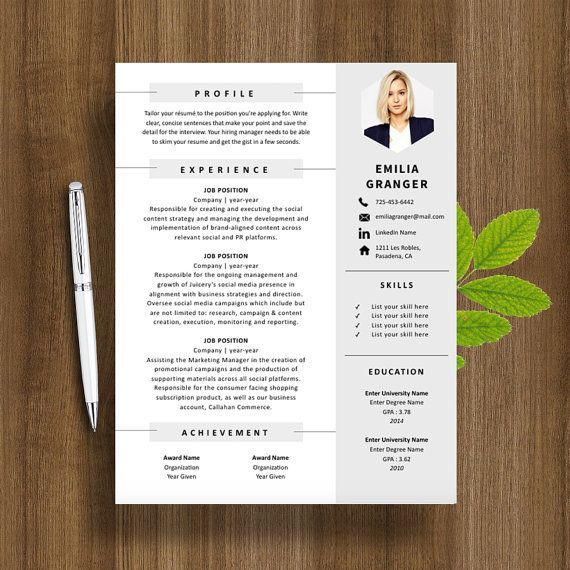 Professional Resume Template  Cover Letter For Ms Word  Modern