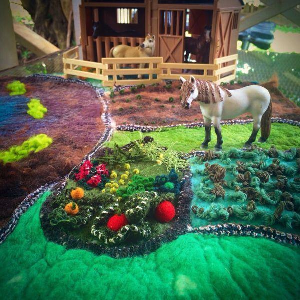 Farm play mat felt steiner Waldorf toy gift | Toys - Indoor ...
