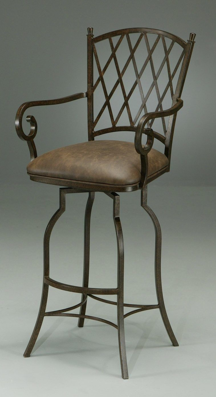 Black Iron Bar Stool With Arm And Back Also Leather Seat
