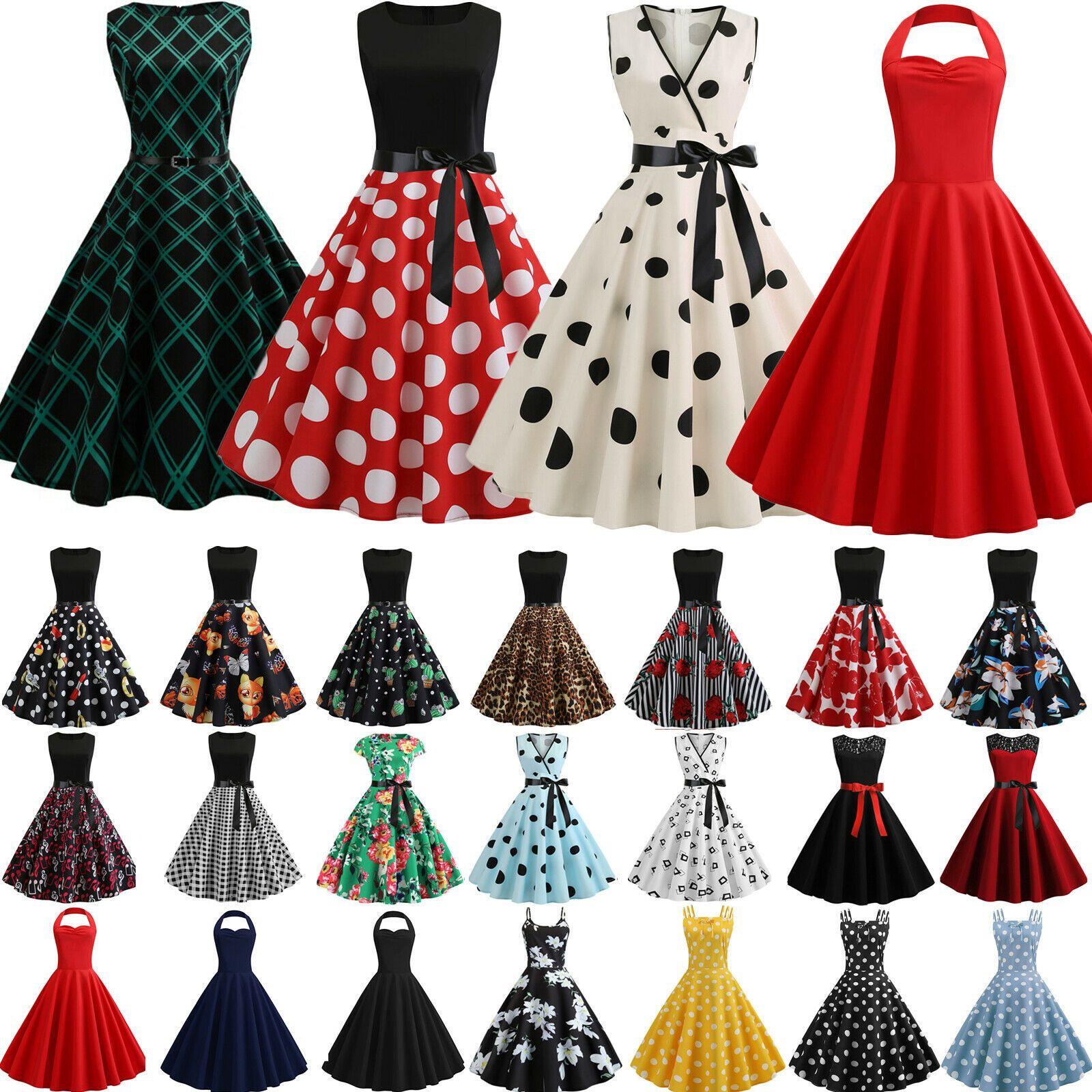 Details Zu Damen Kleid Rockabilly Petticoat Sommer Retro 50er 60er Jahre Vintage Partykleid Polka Dress Short Sleeve Mini Dress Womens Polka Dot Dress