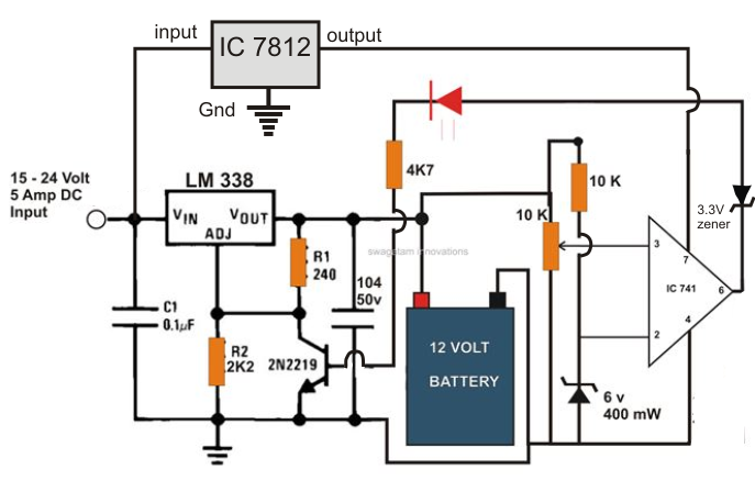 the post explains a 6v, 12v 24v lead acid battery charger circuit 24 Volt Battery Charger Wiring Diagram the post explains a 6v, 12v 24v lead acid battery charger circuit which could be used for charging a 6v, 12v, or even a 24 volt battery